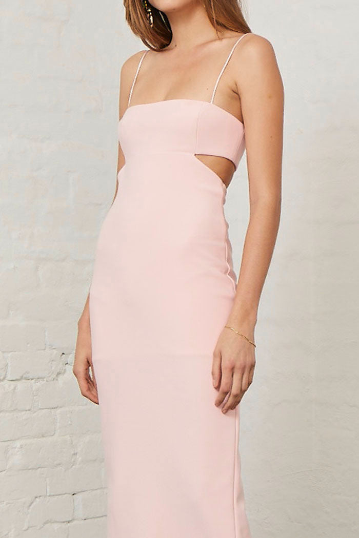 Bec and Bridge Elle Cut Out Midi Dress Blush
