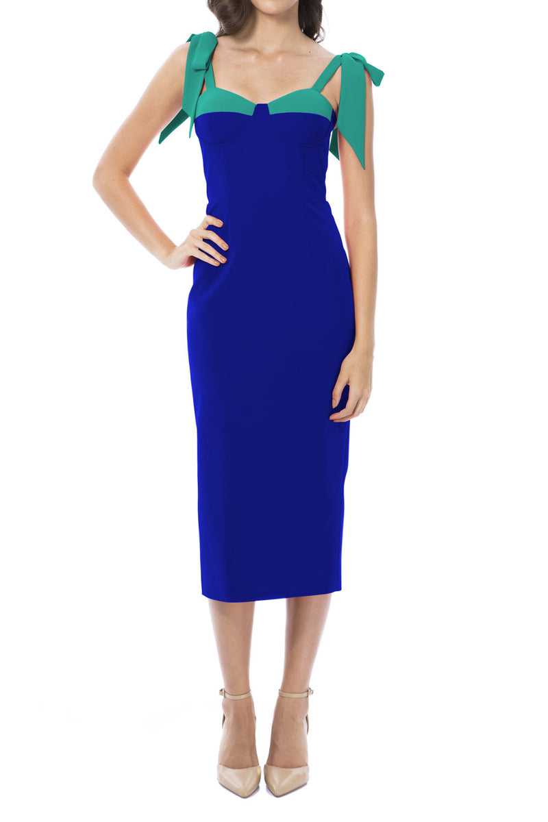 Georgy Collection Chantelle Dress Blue Green