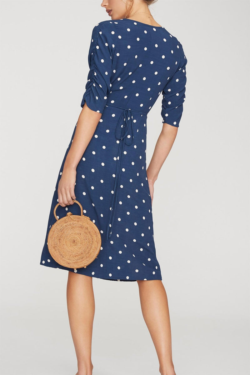 Faithfull Anne Marie Midi Dress Ronia Dot Vintage Blue