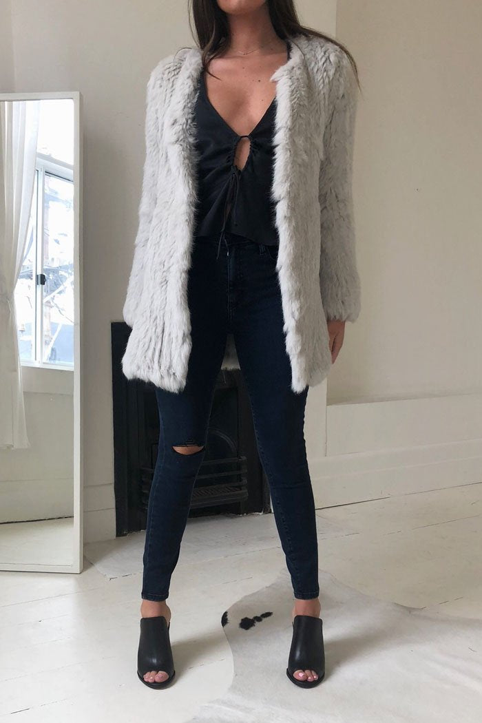 Sloane Fur Jacket Light Grey