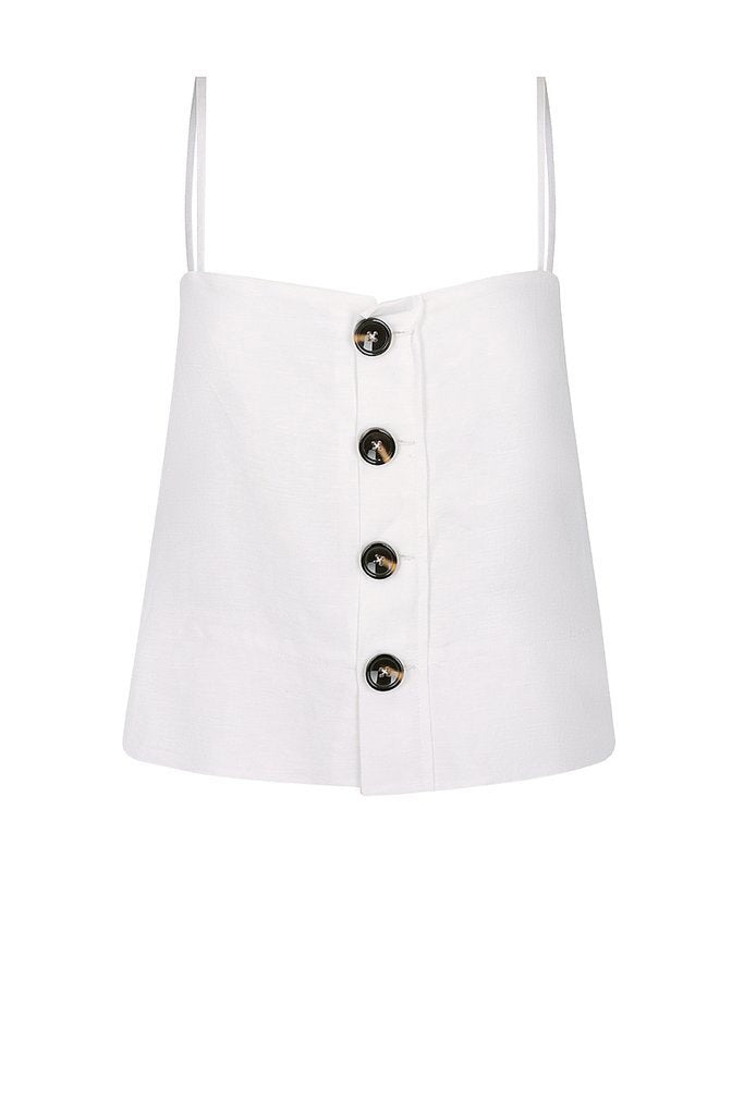 Shona Joy Gaia Button Up Cropped Camisole Ivory