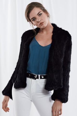 Harper Fur Jacket Black
