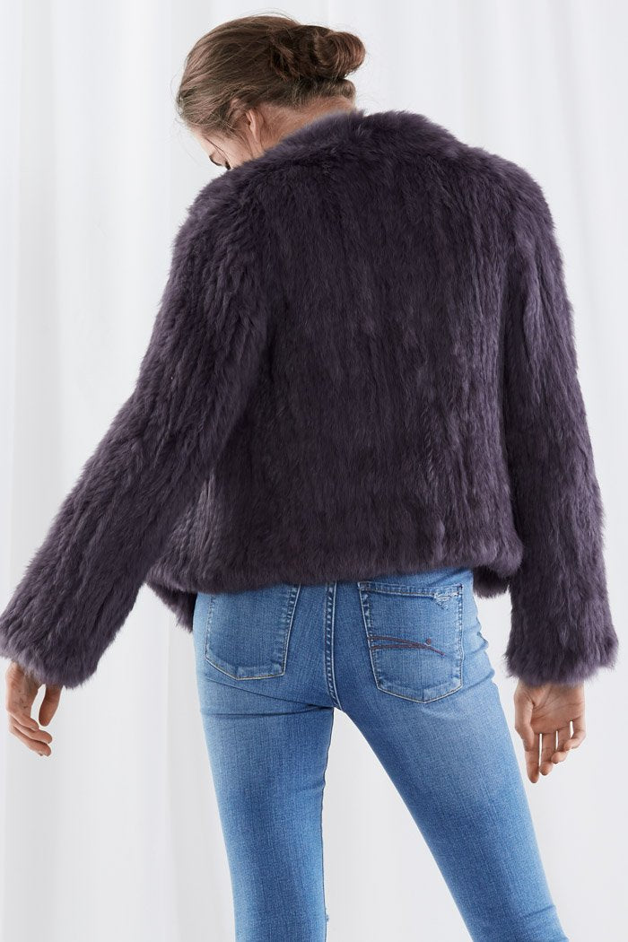 Harper Fur Jacket Charcoal