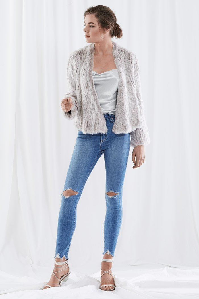 Harper Fur Jacket Light Grey Tipped