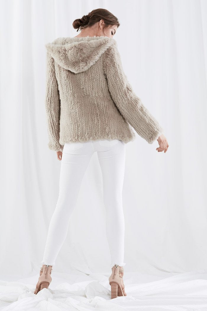 Hooded Fur Jacket Taupe