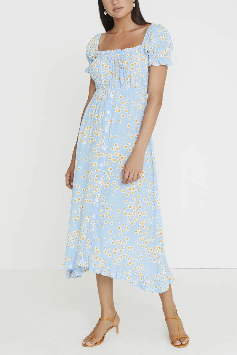 Faithfull Ina Midi Dress Le Bon Floral Print Blue