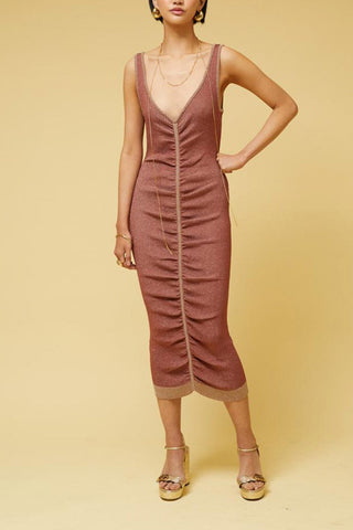 Suboo Leah Knit Ruched Midi Dress Rust
