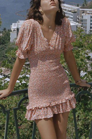 Faithfull Margherita Mini Dress Mathiola Floral Print Pink