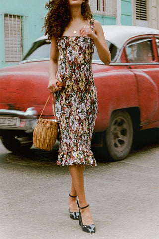 Faithfull Maya Midi Dress Cuba Libre Print