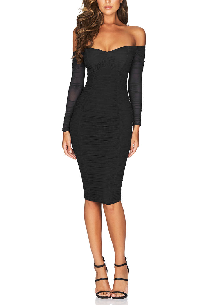 Nookie Romee Ruched Off Shoulder Midi Black