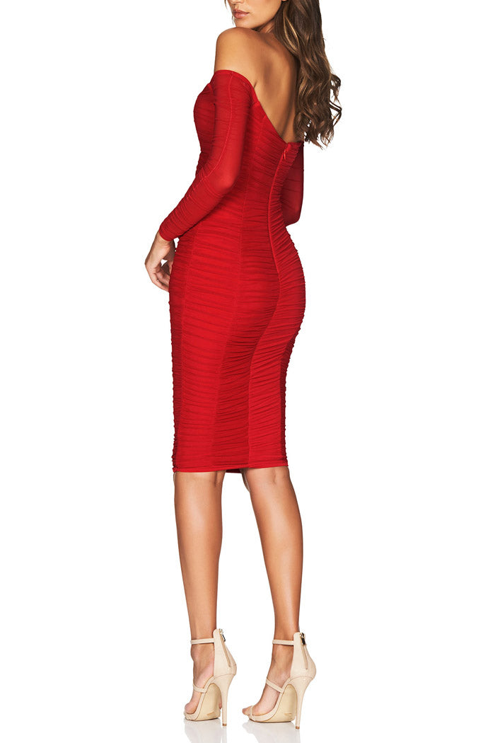 Nookie Romee Ruched Off Shoulder Midi Red