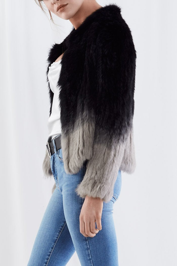 Ombre Cropped Fur Jacket