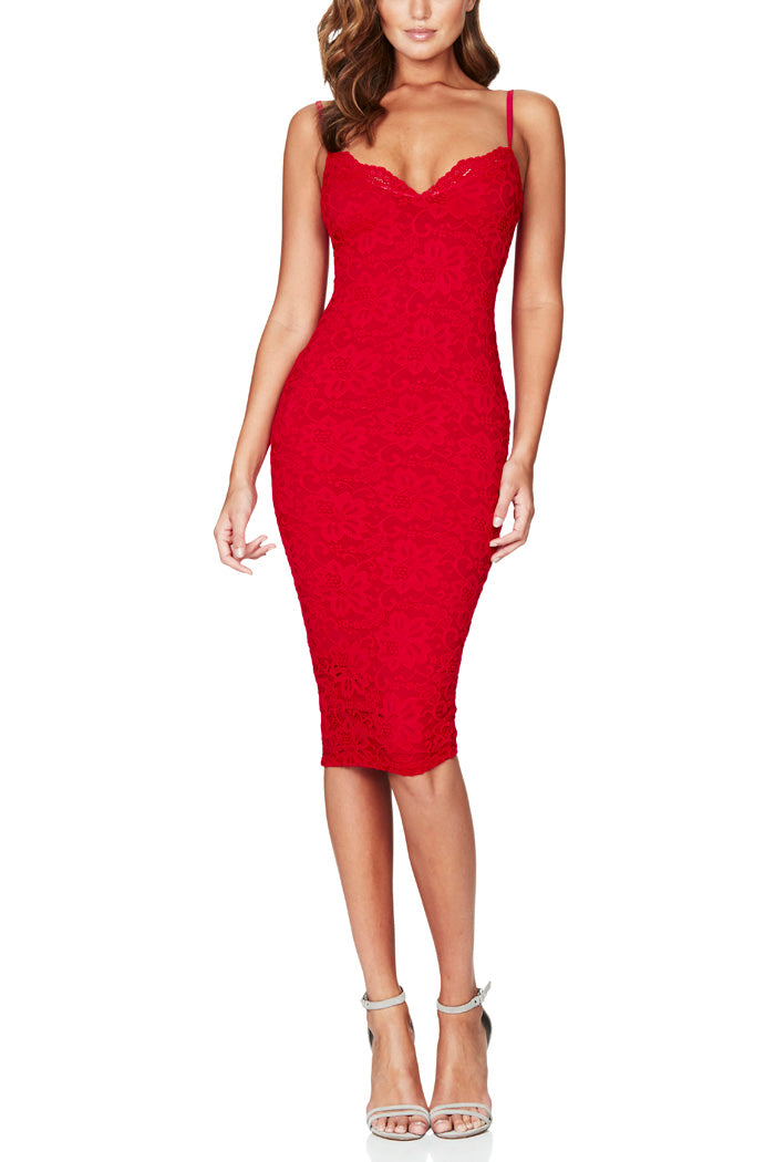 Nookie Paris Lace Midi Red