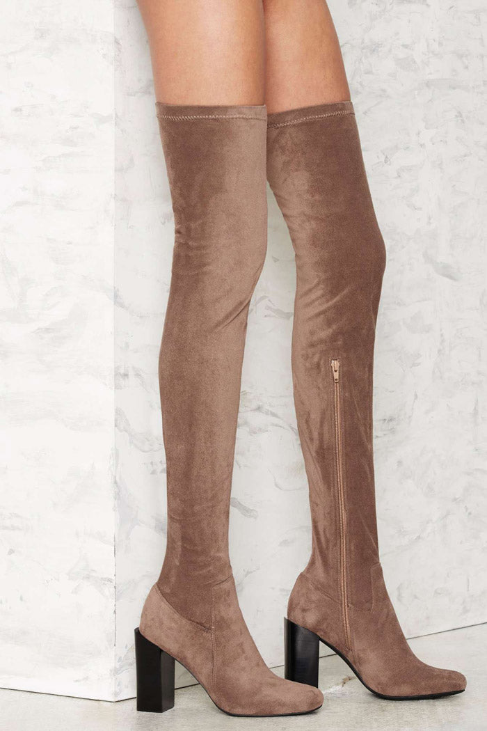Jeffrey Campbell Perouze Knee High Boots Taupe