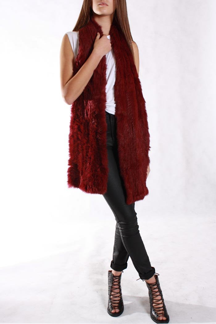 Fur Scarf Wine