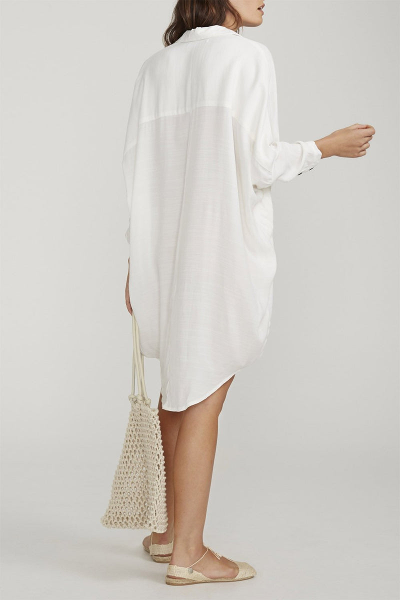 Faithfull Spencer Shirt Dress Plain White