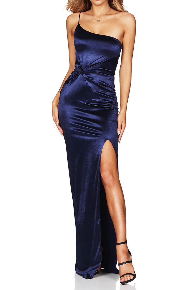 Nookie Tease Satin Gown Navy