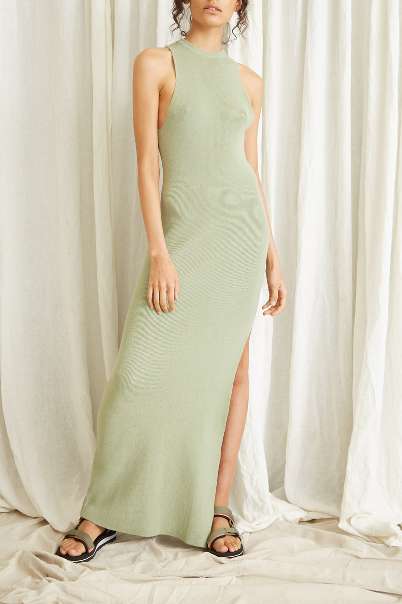 Third Form Cast Away Knit Maxi Tank Dress Pistachio