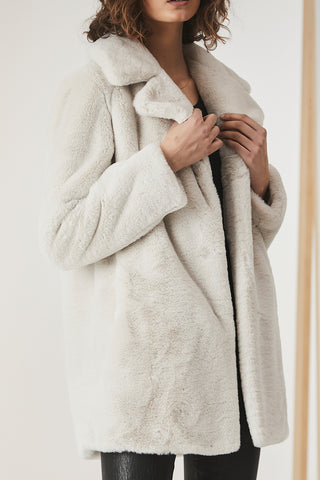 Ena Pelly Minimalist Faux Fur Jacket Bone