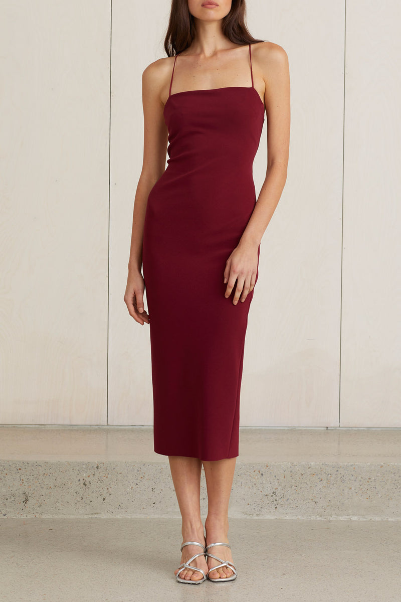 Bec and Bridge Lea Lace Up Midi Dress Burgundy