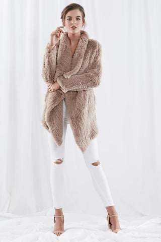 Waterfall Fur Jacket Light Camel