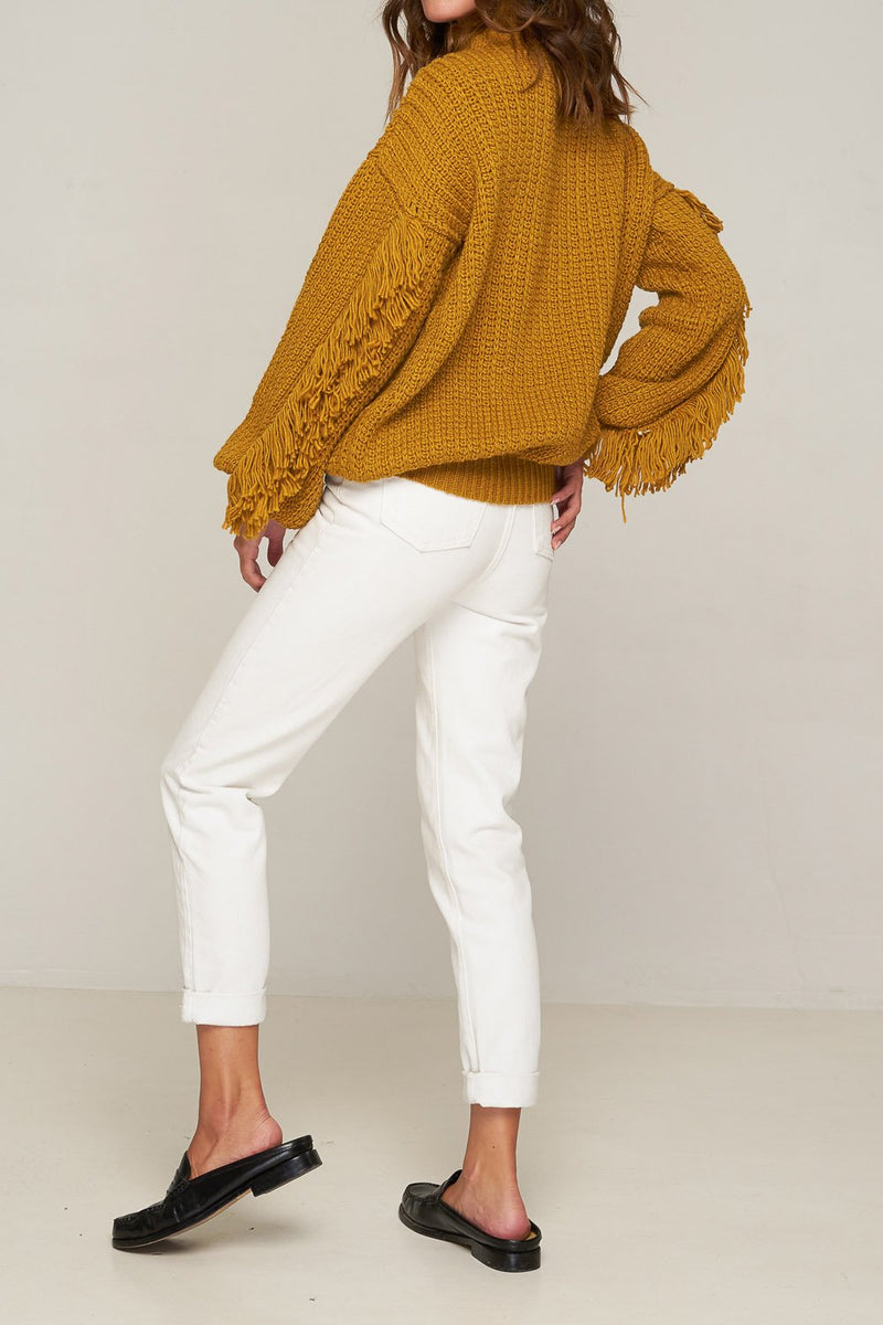 Rue Stiic Dallas Fringed Knit Gold Solid