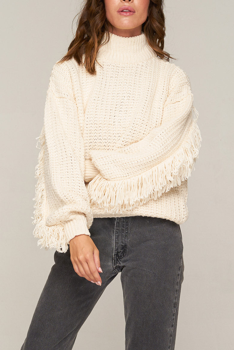 Rue Stiic Dallas Fringed Knit Sand Solid