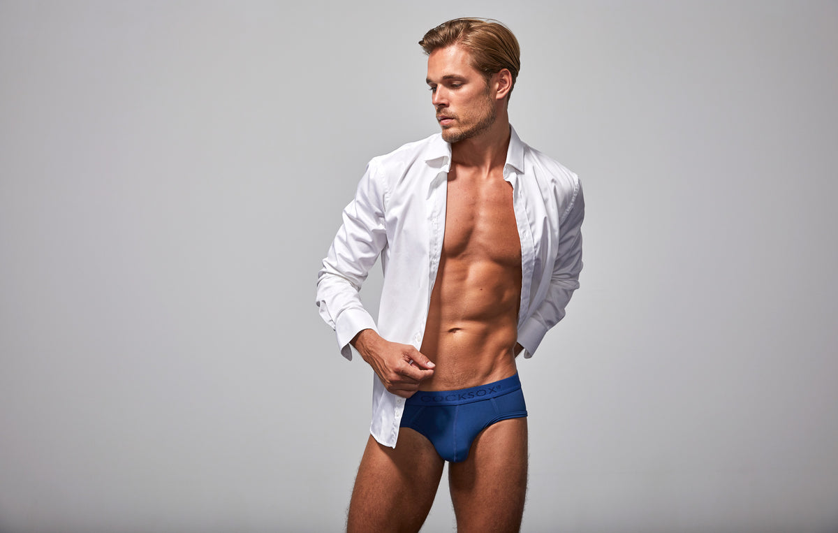 Lifestyle editorial image featuring Cocksox CX76N Always Collection underwear sports briefs in Navy