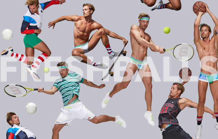 Promotional image for the Cocksox Freshballs underwear collection