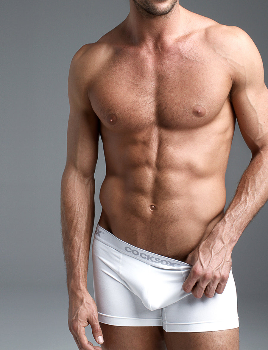 Lifestyle editorial image of the Cocksox CX12 Underwear boxer in White