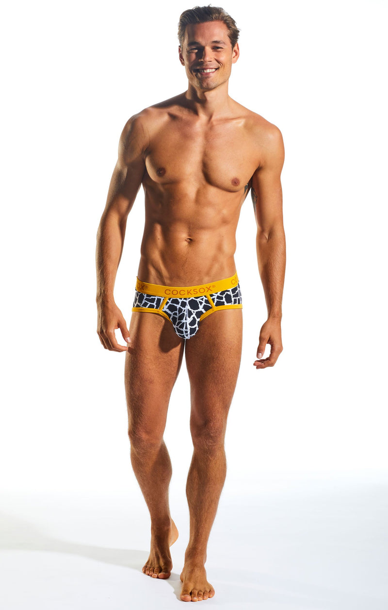 Cocksox CX76WD Underwear Sports Brief in Giraffe full body image