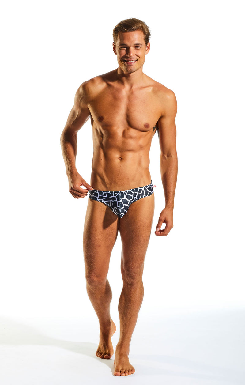 Cocksox CX04PR Drawstring Swim Brief in Giraffe print full body image