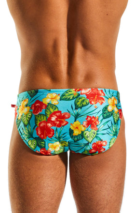 Cocksox CX04PR Drawstring Swim Brief in Hibiscus Cruise back body image