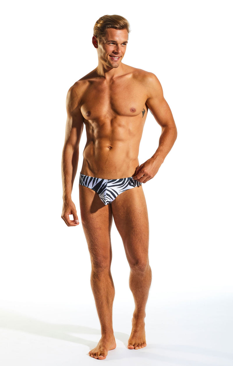 Cocksox CX04PR Drawstring Swim Brief in Zebra print full body image