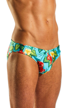 Cocksox CX06PR Drawstring Swim Brief in Hibiscus Cruise print side body image