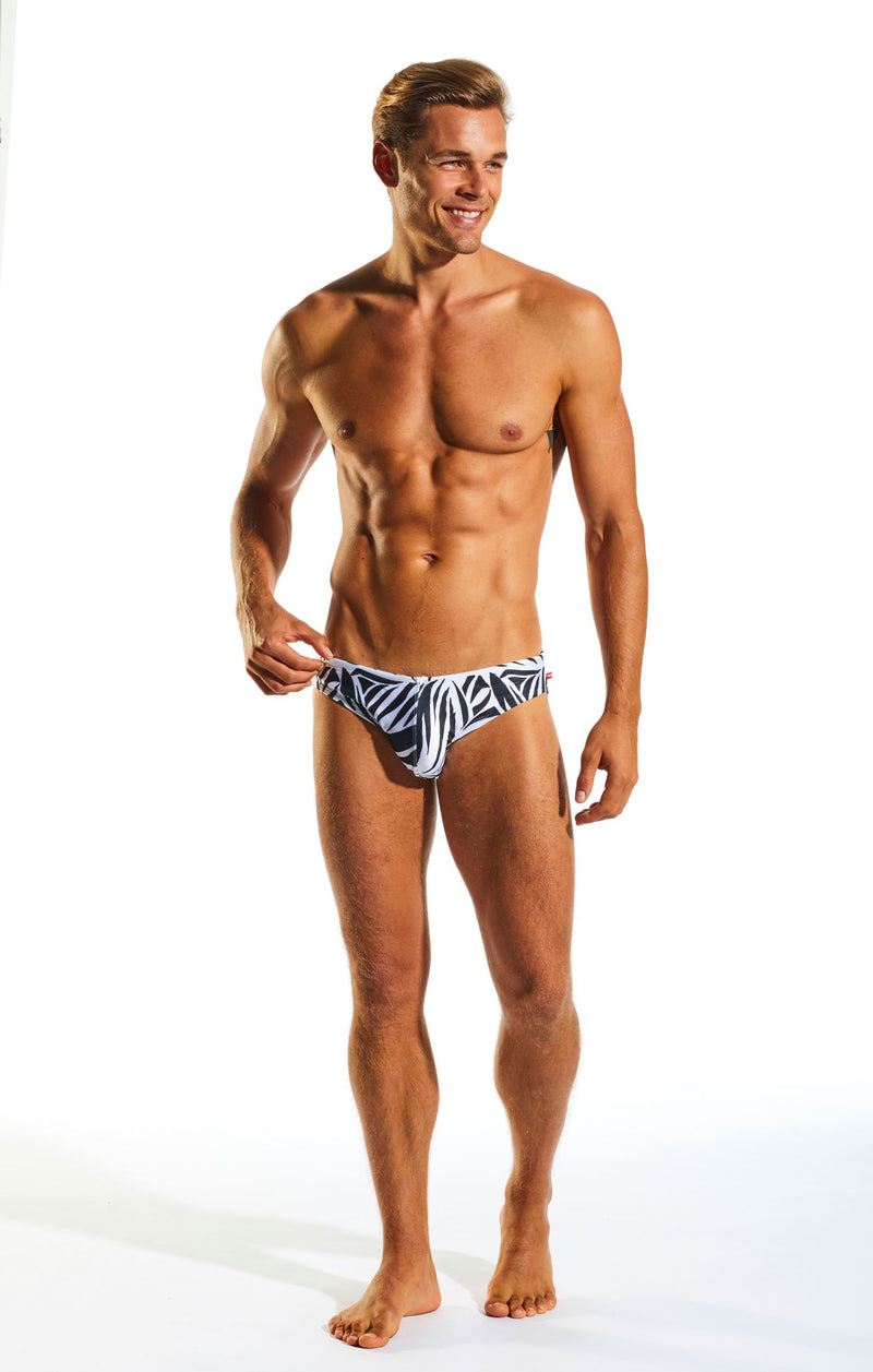 Cocksox CX06PR Drawstring Swim Brief in Zebra print full body image