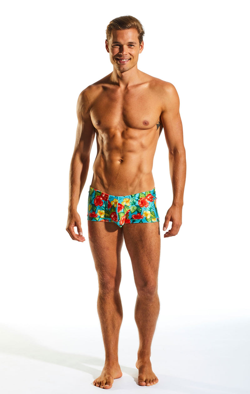 Cocksox CX08PR Swimwear Trunk in Hibiscus Cruise print full body image
