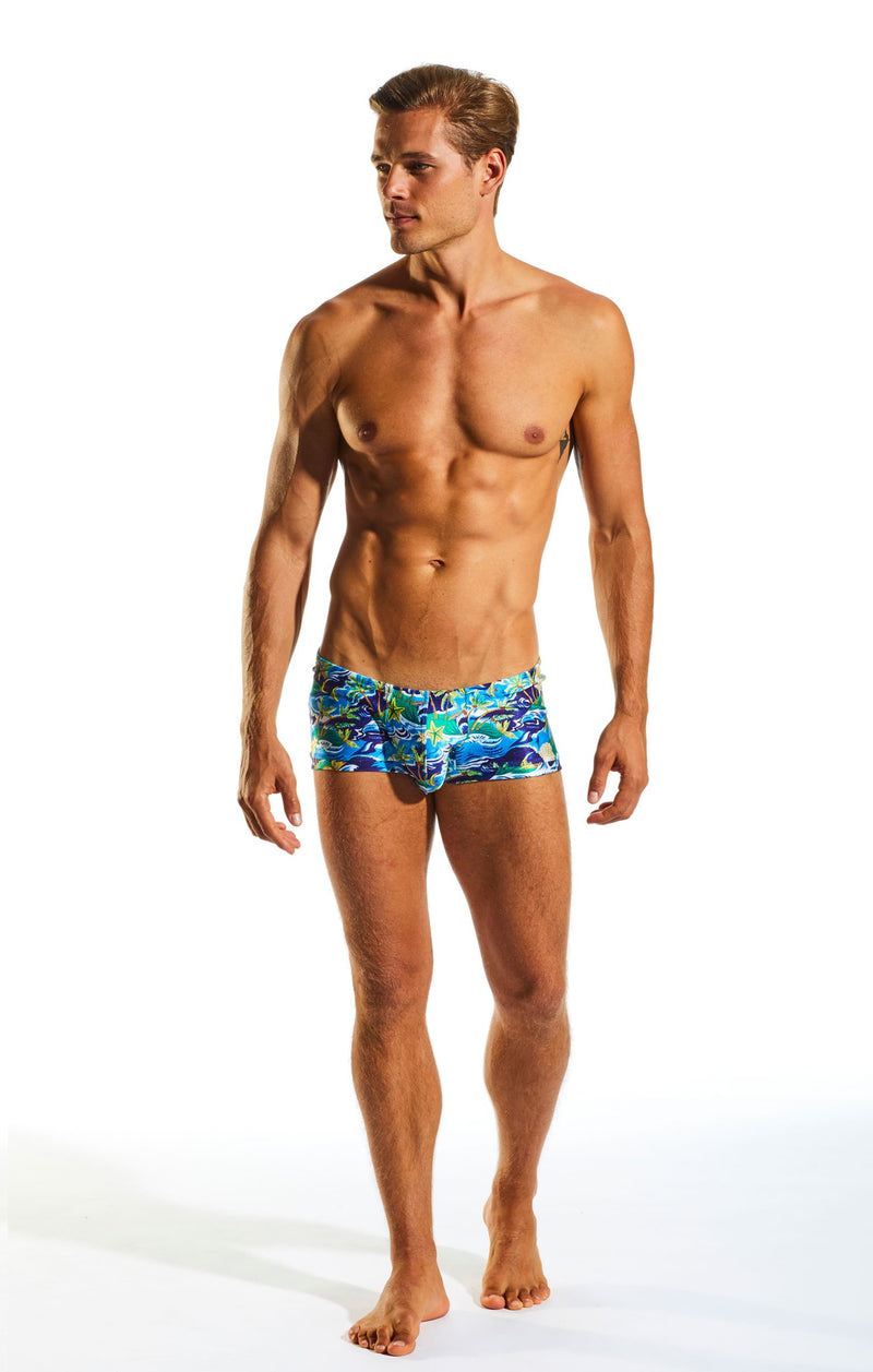 Cocksox CX08PR Swimwear Trunk in Paradise Palms print full body image