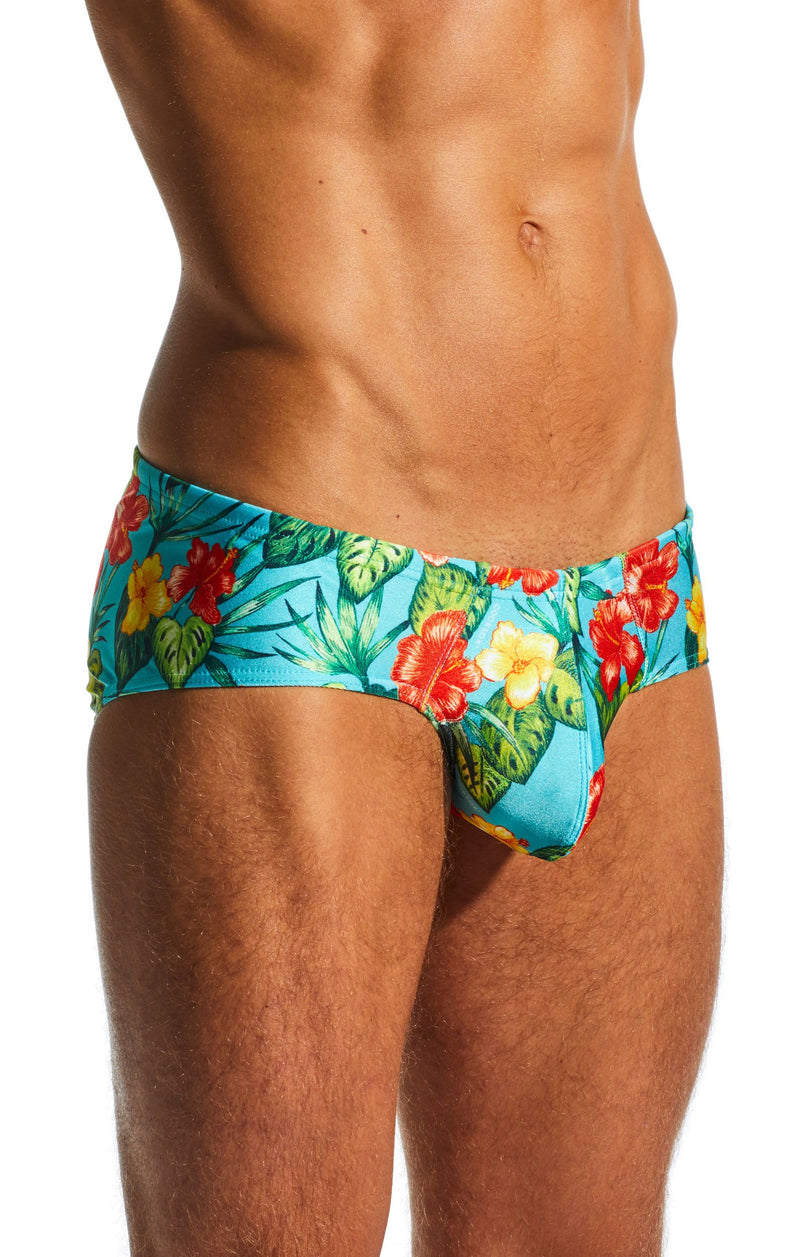 Cocksox CX79PR Boy Leg Swim Brief in Hibiscus Cruise print side body image