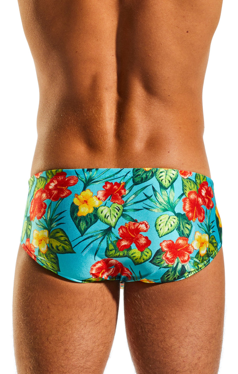 Cocksox CX79PR Boy Leg Swim Brief in Hibiscus Cruise print back body image