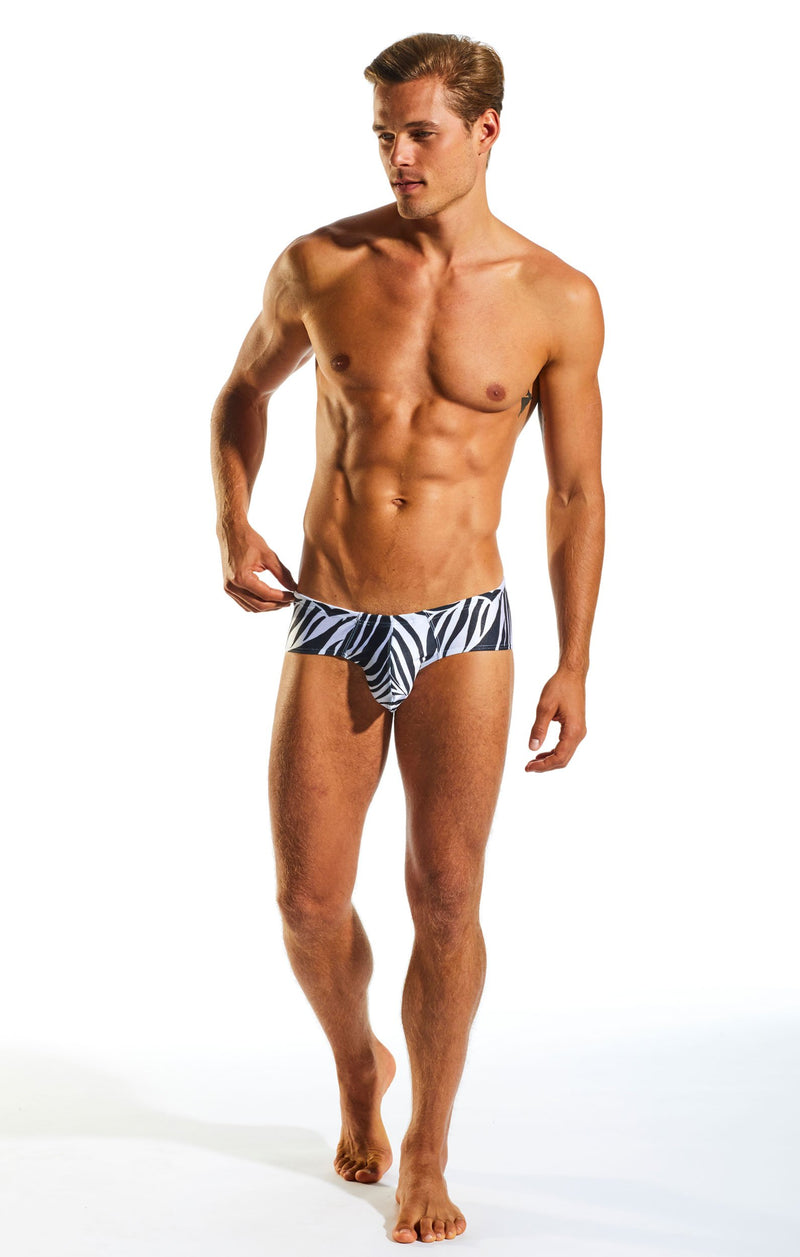 Cocksox CX79PR Boy Leg Swim Brief in Zebra print full body image