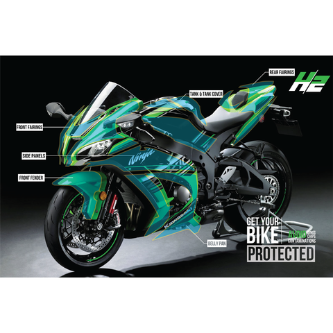 Kawasaki Ninja ZX-10R Paint Protection Kit - H2 Stickers - Worldwide