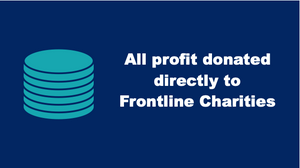 Coins on a blue background with the caption All profit donated directly to Frontline Charities.