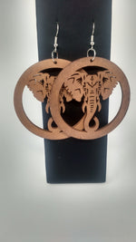 Brown Circle Elephant Wood Earrings