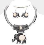 Embossed Metal Elephant Pendant Necklace and Earring Set - Cream