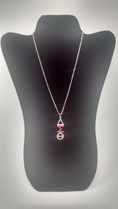 Delta Sigma Theta Greek Letter Silver Crystal Necklace