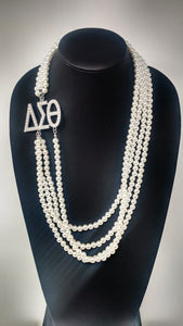 Delta Sigma Theta Greek Letter Pearl Necklace