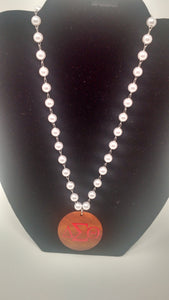 Delta Sigma Theta Pearl Necklace w/Wood Pendant