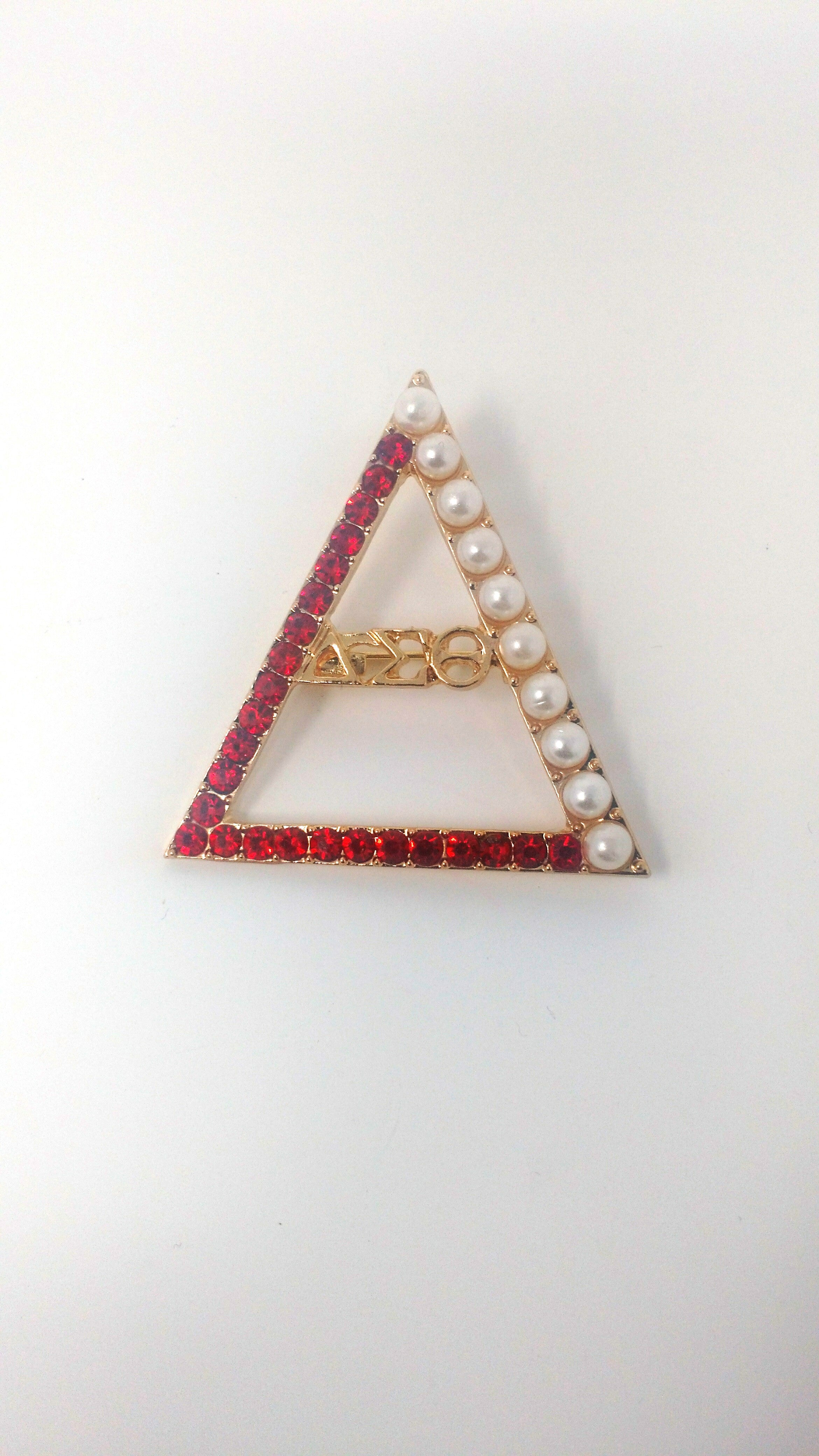 Delta Sigma Theta Crystal and Pearl Pin Brooch