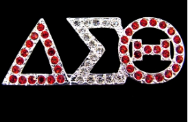 Delta Sigma Theta Greek Letter Red/Silver Crystal Pin Brooch